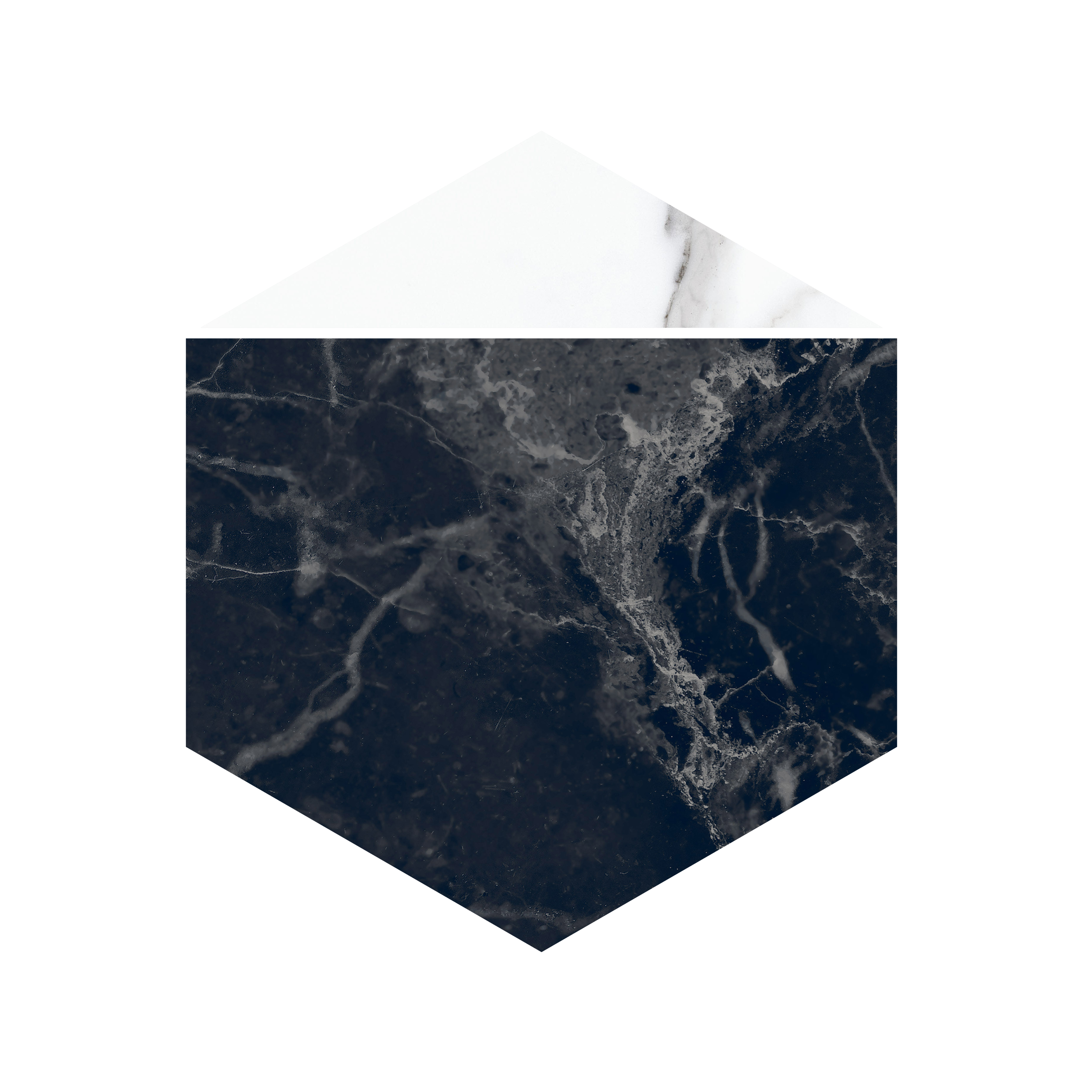 NOCTURNE 20X23 HEXAGON BLACK GLOSSY